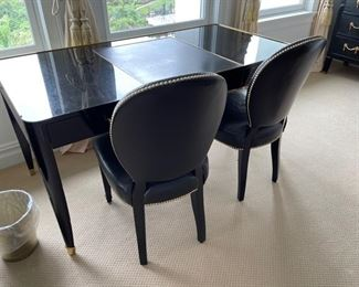 Ralph Lauren desk  desk 63 inches long 32 deep and 30 inches heightand two  black leather chairs