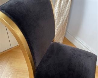 black suede dining room chairs with gold  wood frame
