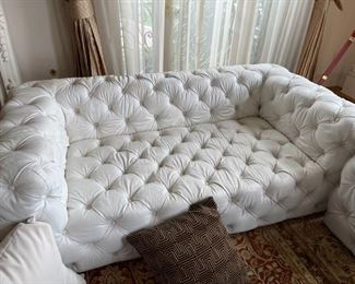 love seat white leather chesterfield couch