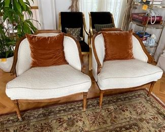"""Recently reupholstered with Dedar Fabrics, """"Ivory Bouncle"""" fabric"""