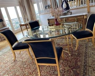 round glass table with brass  gold tone legs
