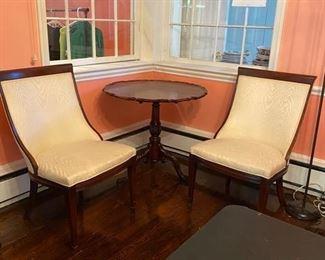 Pair wood trim side chairs