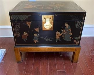 Drexel lacquered storage chest on stand