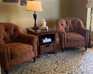 FABRIC ACCENT CHAIRS, RUGS, DECOR