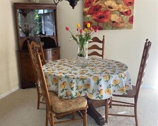 ROUND WOOD KITCHEN TABLE AND CHAIRS, CORNER HUTCH