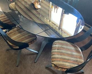 SMOKED BAKELITE  1970's  TABLE AND CHAIRS