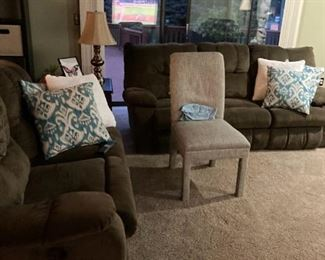 . . . nice couch and love seat with accent chair and pillows