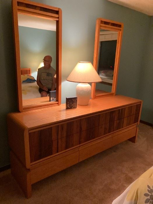 . . . the matching mid-century mirrored dresser
