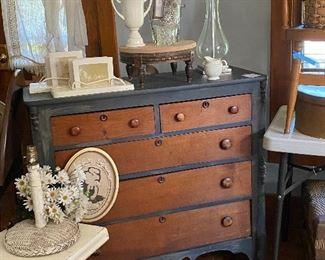 Antique 5 drawer dresser. Piano stools. Wicker