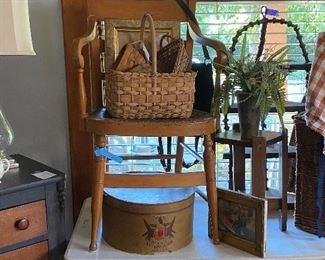 Hat box. Rush seat armchair, spool corner  shelf , baskets