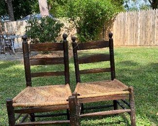 Pair rush seat chairs