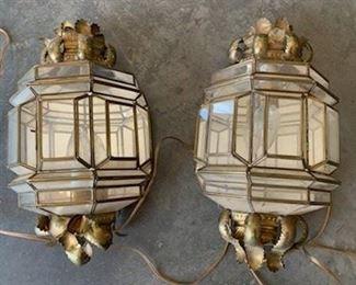 Vintage Mexican brass lanterns