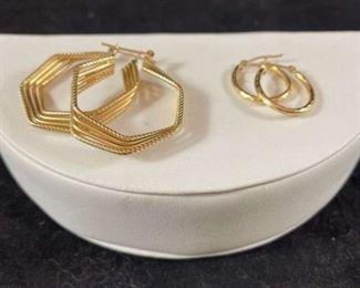 14K Gold Hoop Earrings Two Pair