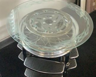 HARLEY DAVIDSON GLASS TOPPED TABLE