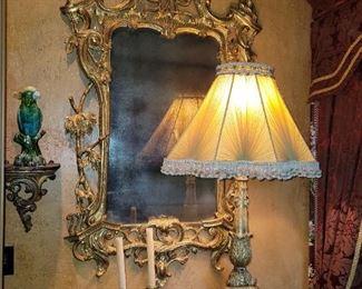 Pair of Altar Pricket Lamps with Silk Shades circa 1800