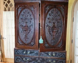 """Chippendale Linen Press carved urns on doors 90""""Hx55""""Wx25""""D"""