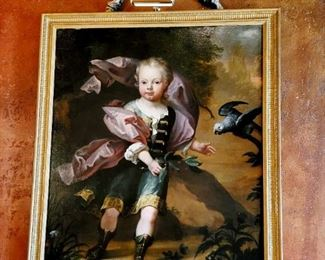 """Oil on Canvas Love and Madness after the fable by Jean de la Fontaine French 18th Century 48""""Hx39""""W"""