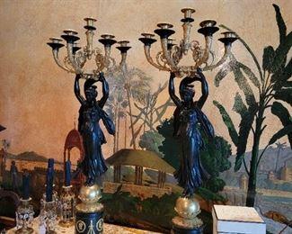 "Pair of fine French Empire Bronze Dore Candelabras 40""x 15"" circa 1815"