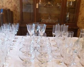 China cabinet, silver plate, crystal, julep cups