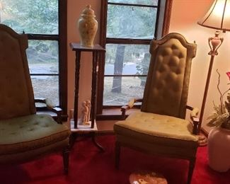 Mid century olive green chairs, floor lamp