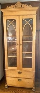 """Original Swedish Antique Wood Cabinet with beautiful antique hardware. Circa 1870. Has light wear, overall in good condition.  Measures 32.5"""" x 15"""" x 88"""""""