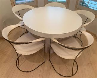 """Five Vintage Arrben Chairs and Contemporary Table. What a great vintage table and chairs! The chairs, by Arrbean are stamped on the bottom and made in Italy. The chairs have some wear/scratches/scrapes on the arms. The chairs each are 30"""" h and the seats measure 16"""" x 19""""."""
