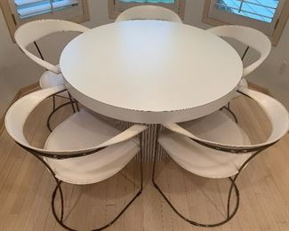 """Five Vintage Arrben Chairs and Contemporary Table. What a great vintage table and chairs! The chairs, by Arrben are stamped on the bottom and made in Italy. The chairs have some wear/scratches/scrapes on the arms. The chairs each are 30"""" h and the seats measure 16"""" x 19""""."""