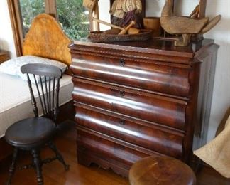 Antique dresser and two antique piano stools