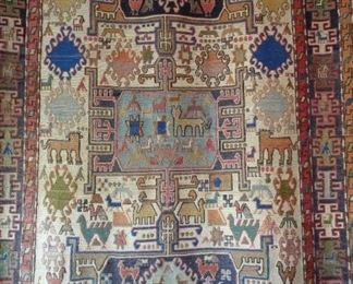"""Antique Sumac rug on a rod 46"""" x 75"""""""