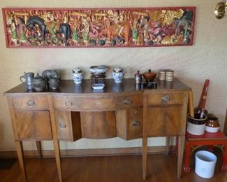 William Kimp Buffet.  Carved Asian wall decor