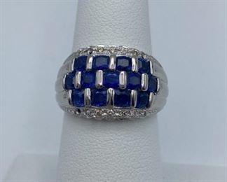 Platinum Ring, 2.79 ctw Sapphires, .11ctw diamonds, size 7