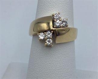 14k Yellow gold ring, .42ctw diamonds, size 6.25