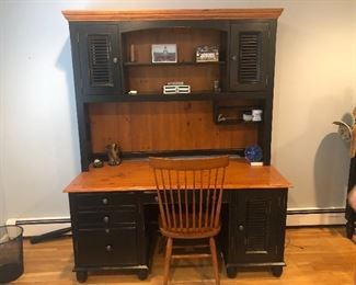 Desk great condition.  With chair.  $500.   Have a twin bed w good mattress that matches.  $300