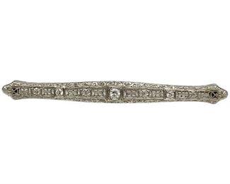 Vintage Platinum & Diamond Bar Pin https://www.bidrustbelt.com/Event/LotDetails/134580680
