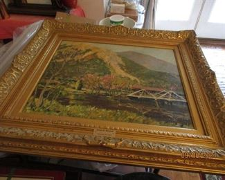 signed vintage painting with great frame