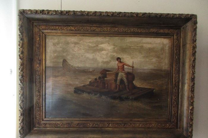 vintage painting and frame signed