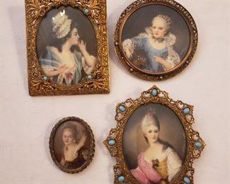 Antique hand painted miniature portraits