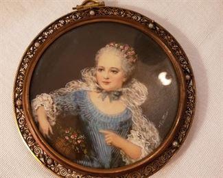 Signed Nattier miniature portrait