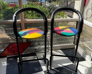Pair of post Modern stools - Memphis style
