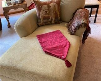 Nice chaise lounge with bulldog pillow