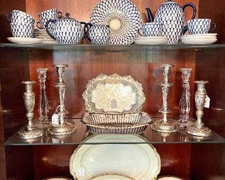 "Nortiake China set - ""Goldkin"" Pattern, Lomonsov Coffee Service (bought in Russia), Sterling candlesticks"