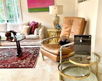 MCM coffee tables, chairs and original art by Sunny Goode.