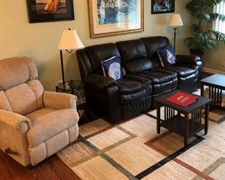 Leather power recliner sofa and manual recliner