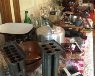 Primitives, milk bottle, wrought iron scale, kitchen utensils