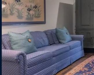 Blue fabric sleeper sofa in like-new condition