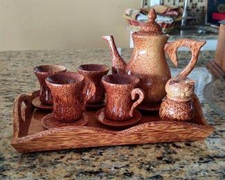 Handmade wooden authentic Asian tea set