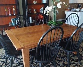 Harvest Table(expands to 9') and Windsor chairs