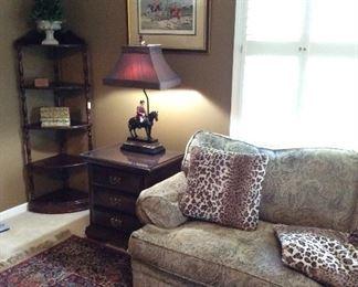 Sofa and Corner Shelf