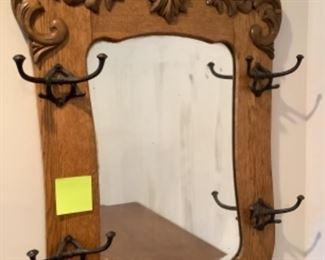 Hall tree wall mirror