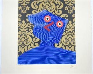 Enrico Baj Color Aquatint w/ Collage # 51/100